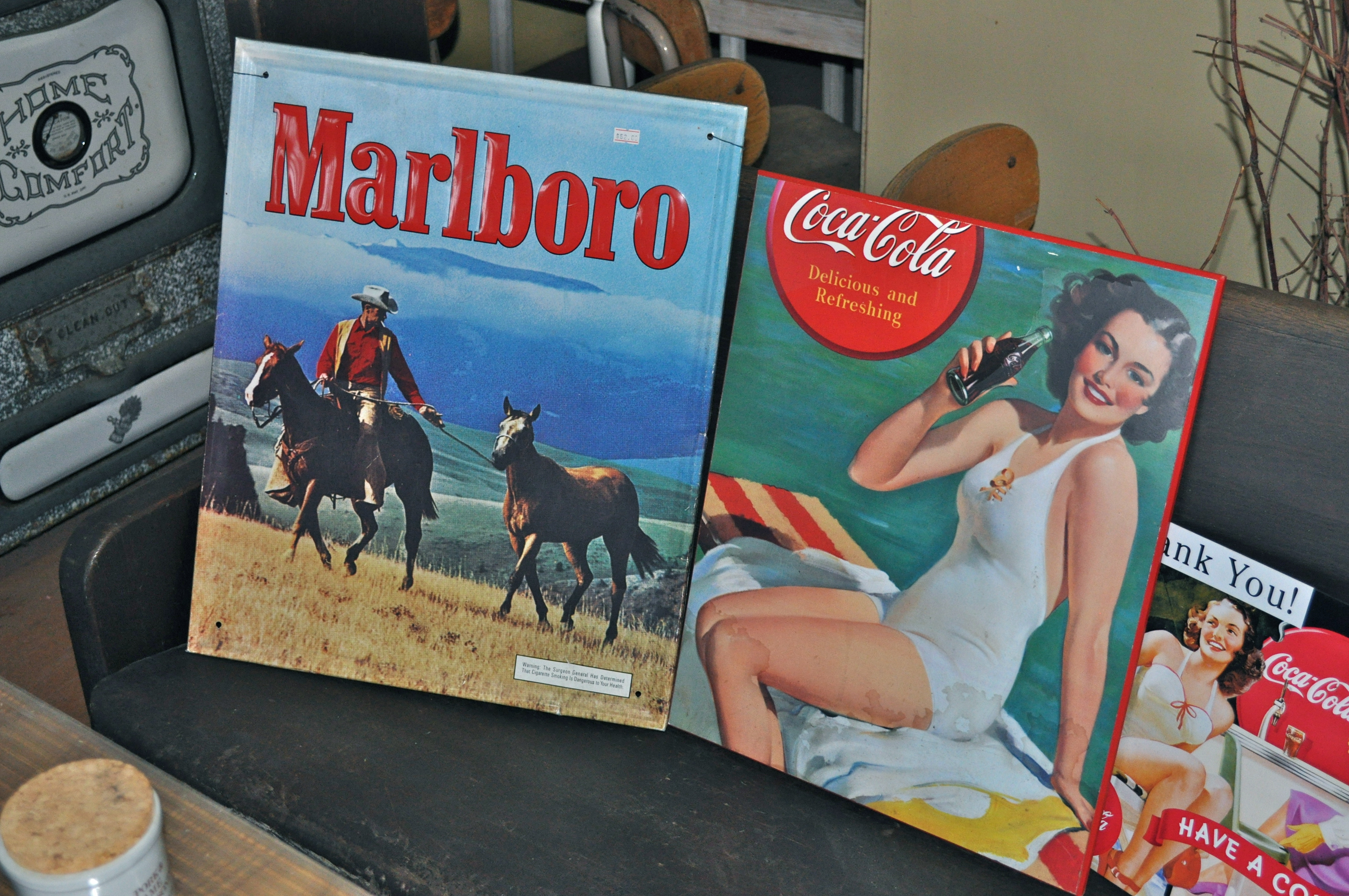 Collectable Early Marlboro and Coke Signs